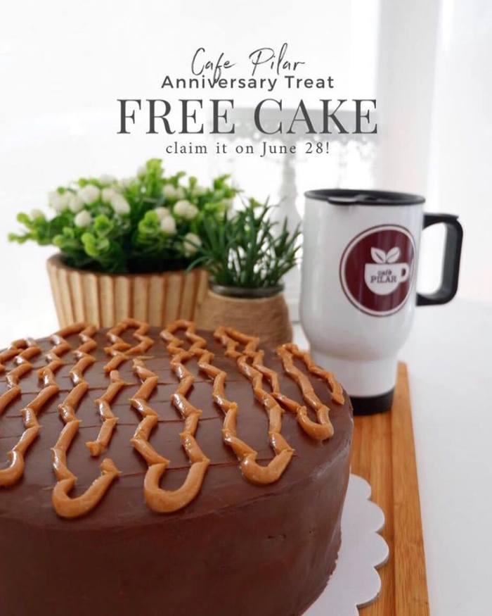 cafe PIlar free cake anniversary treat