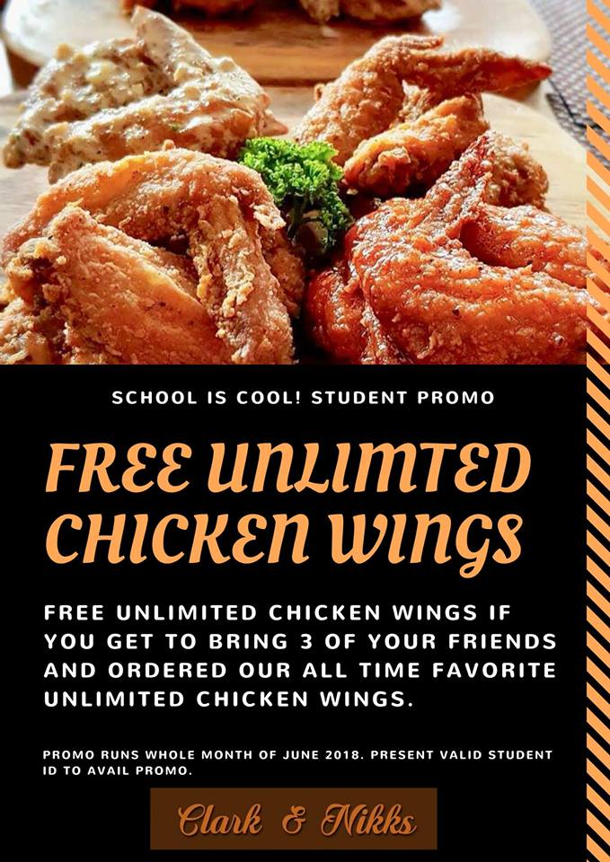 CLARK and NIKKS FREE Unlimited Chicken Wings Back to School Promo