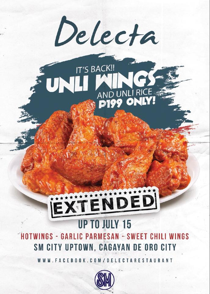 Delecta Restaurant Unl iWings is back and Extended