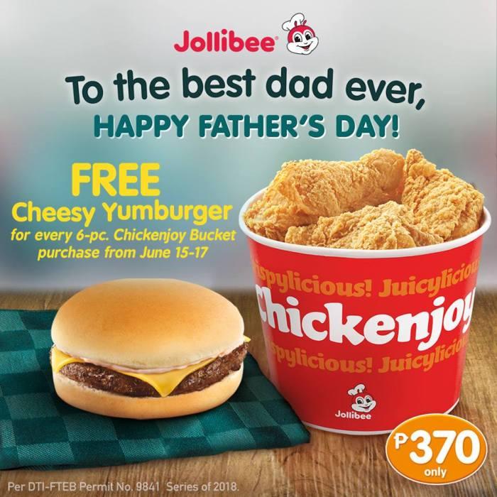 Jollibee Free Cheesy Yumburger Father's Day Promo