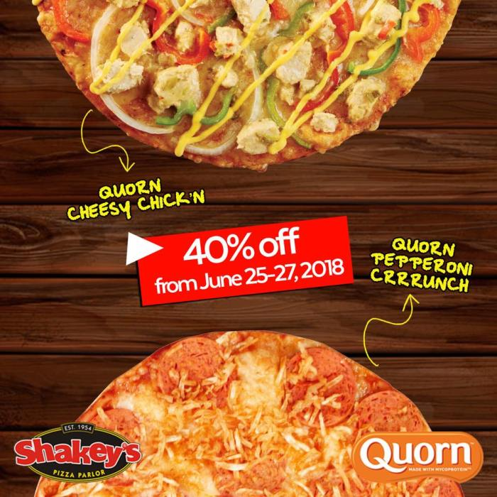 Shakeys Quorn Cheesy Chick'n and Quorn Pepperoni Crrrunch Pizzas