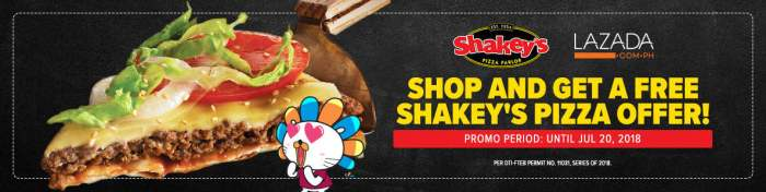 shop at Lazada and get a FREE Shakeys Pizza Cover