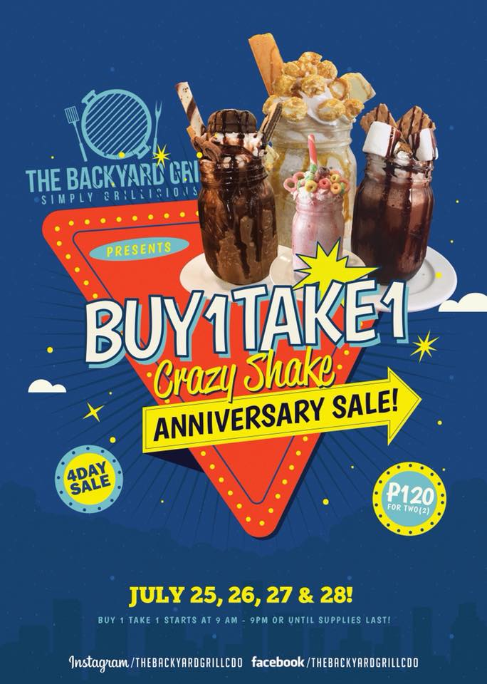 Buy 1 Take 1 Crazy Shake The Backyard Grill 4th Anniversary Sale