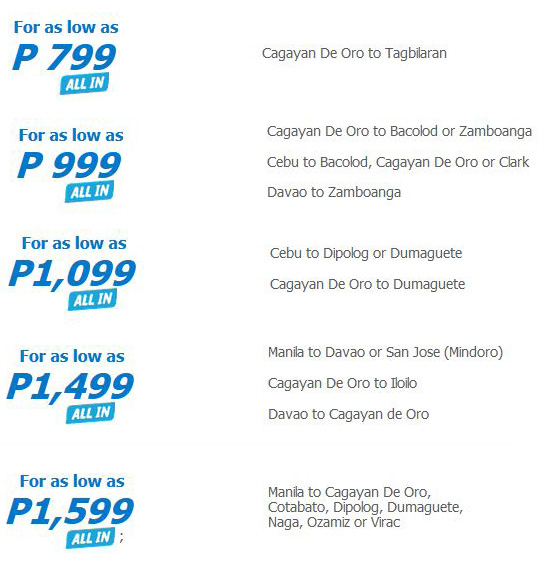Cebu Pacific Payday Fly Day CDO Flights