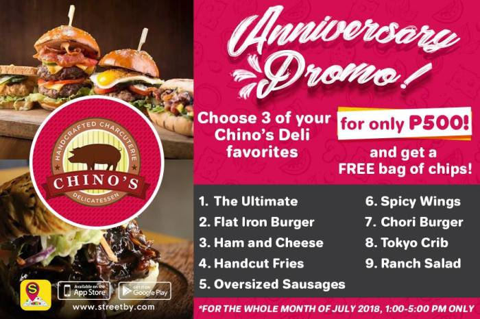 Chinos Deli 4th Year Anniversary Promo with Streetby