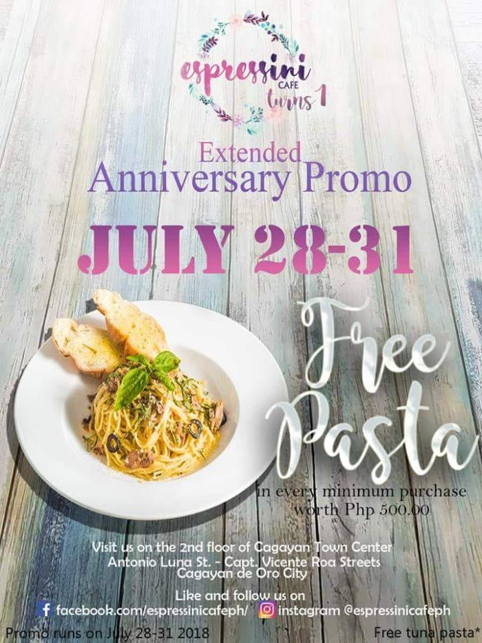 Espressini Cafe 1st Anniversary Promo extended