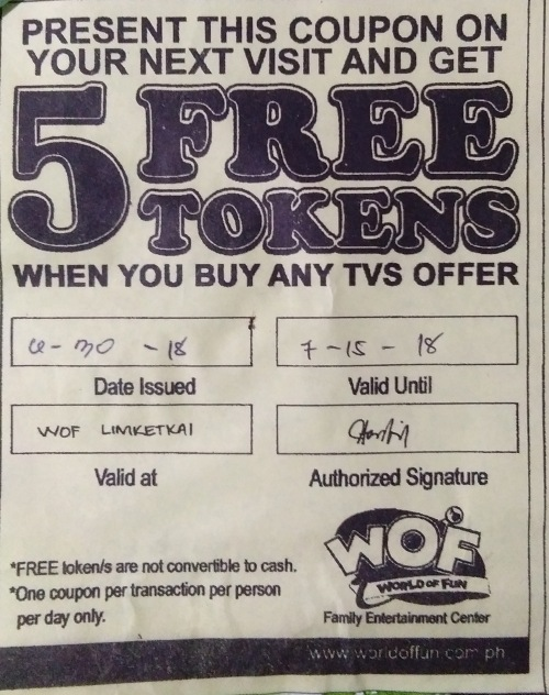 get 5 free tokens from WOF and Limketkai Cinema