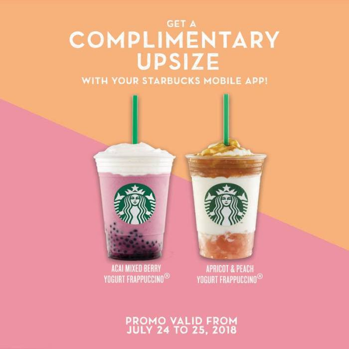Get a Complimentary Upsize with your Starbucks Mobile App