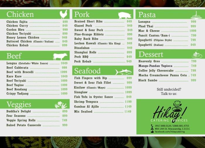 Hikay Catering Services menu
