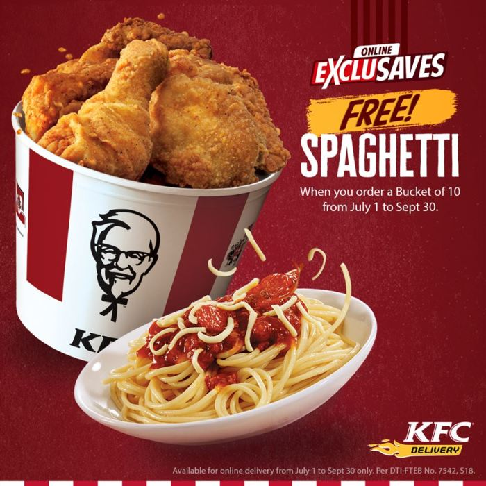 FREE spaghetti when you order Bucket of 10 through KFC Online Delivery