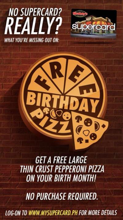 Shakey's Free Birthday Pizza