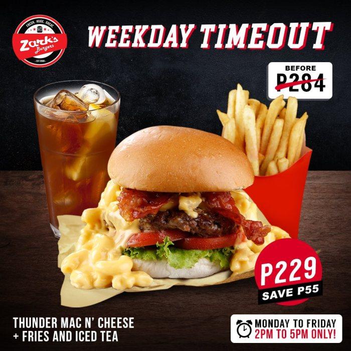 Zarks Burger Thunder Mac N Cheese Plus Fries And Iced Tea