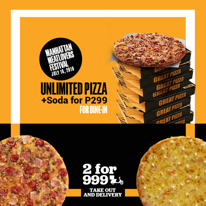 Yellow Cab Unli Pizza And 2 for 999
