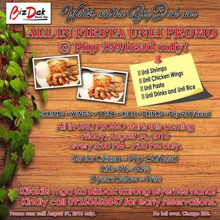 BizDak Resto Bar BizDak All In Fiesta Unli Promo