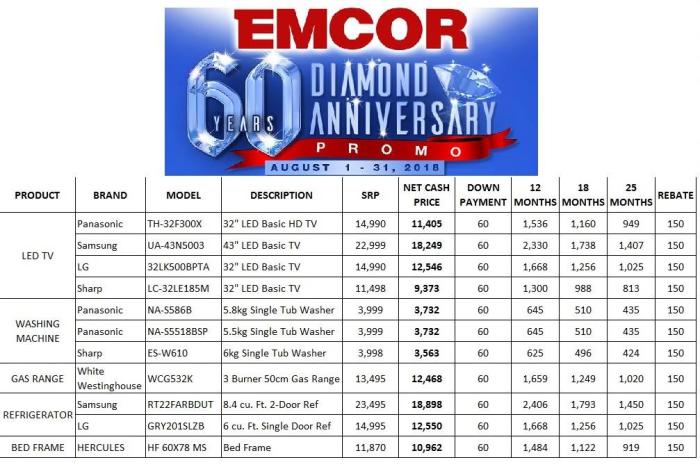 EMCOR 60 Diamond Anniversary Promo price list