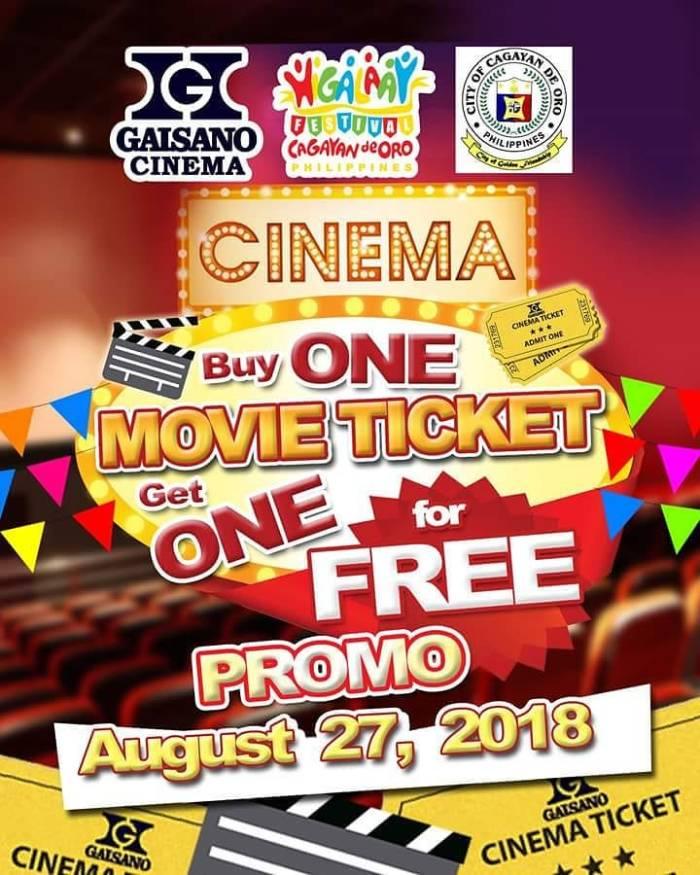 gaisano buy 1 take 1 movie ticket