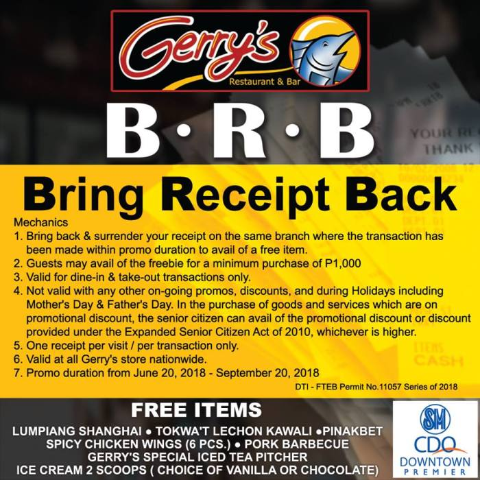 Gerry's Grill Bring Receipt Back