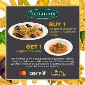 Itallianis Centrio buy 1 get 1 pasta