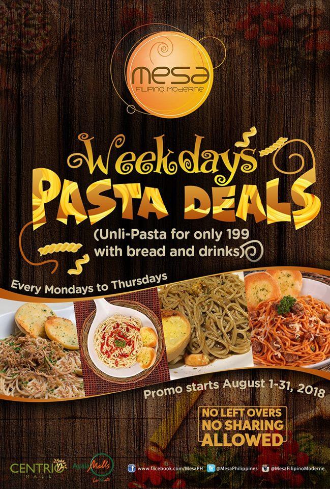 Mesa Weekdays Pasta Deals