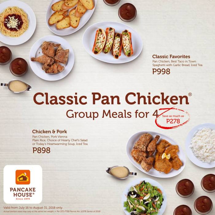 Pancake House Classic Pan Chicken Group Meals for 4