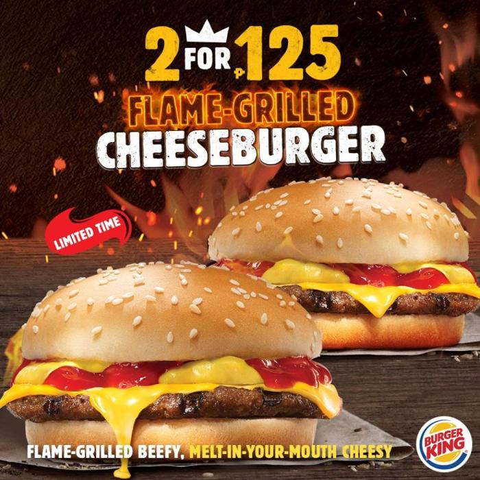 Burger King 2 Flame-Grilled Cheeseburgers for P125