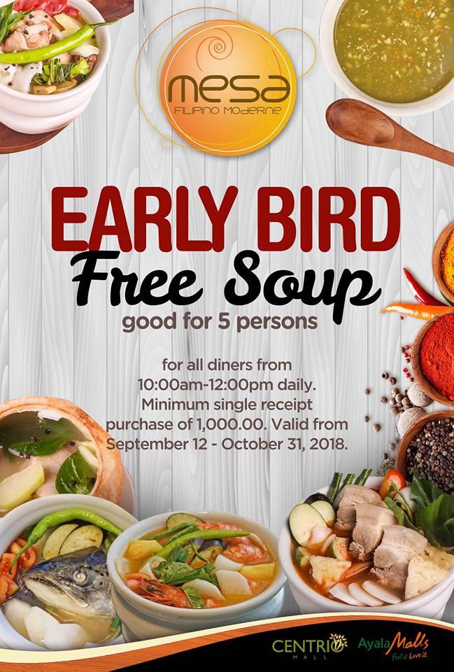 Mesa Early Bird FREE Soup