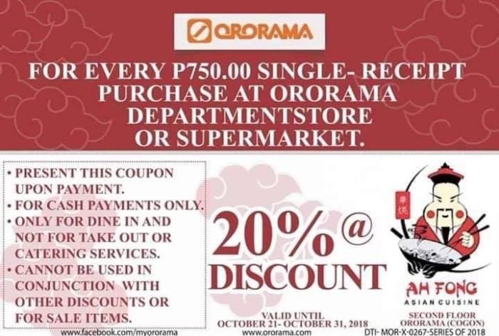 Ah Fong Asian Cuisine Ororama Pre-Holiday Offer