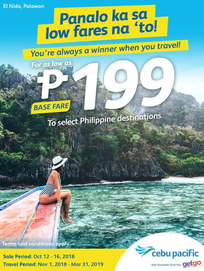 As low as P199 Base Fare at Cebu Pacific Airs Seat Sale
