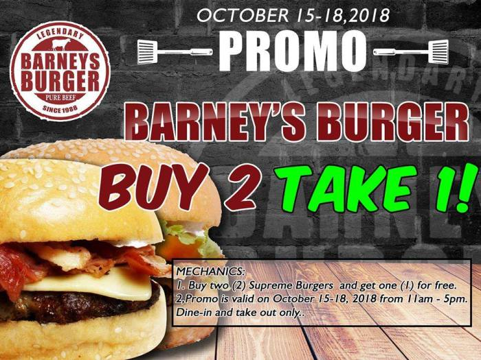 Barney's Burger Buy 2 Take 1 Promo