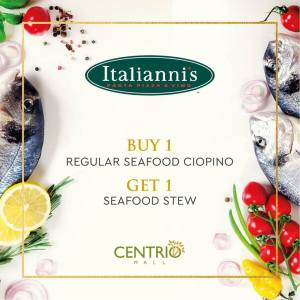 Buy 1 Take 1 on Seafood Dishes Italiannis