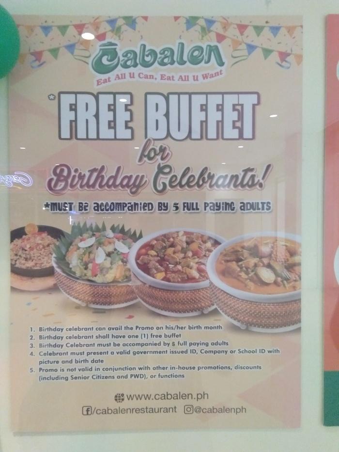 cabalen Restaurant Birthday Treat