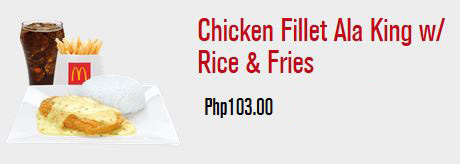 McDonald's Chicken Fillet Ala King with Rice and Fries