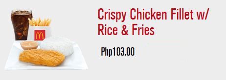 mcdonald's crispy chicken fillet with rice and fries