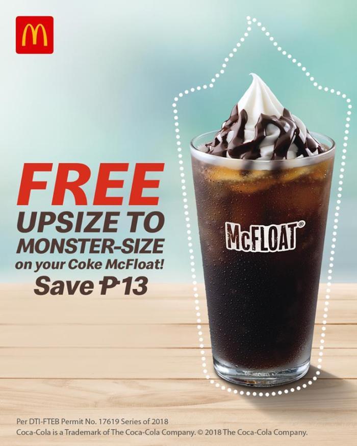 Free Coke McFloat Upsize FB