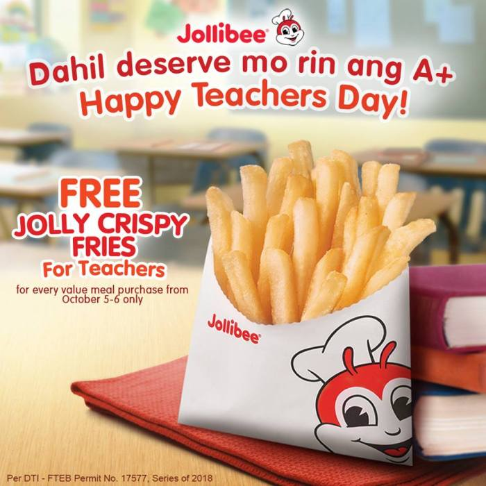 FREE Jolly Crispy Fries for Teachers