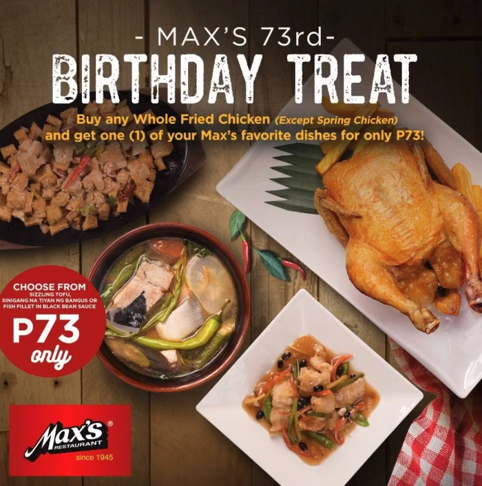 Max's Restaurant 73rd Birthday Treat SM supermalls