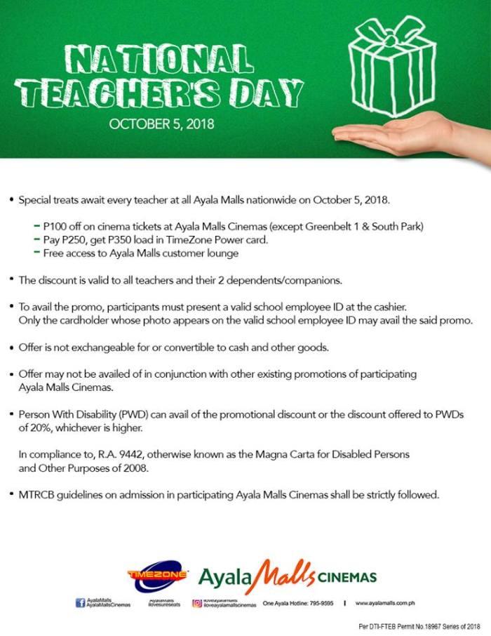 National Teacher's Day at Ayala Malls Cinemas details