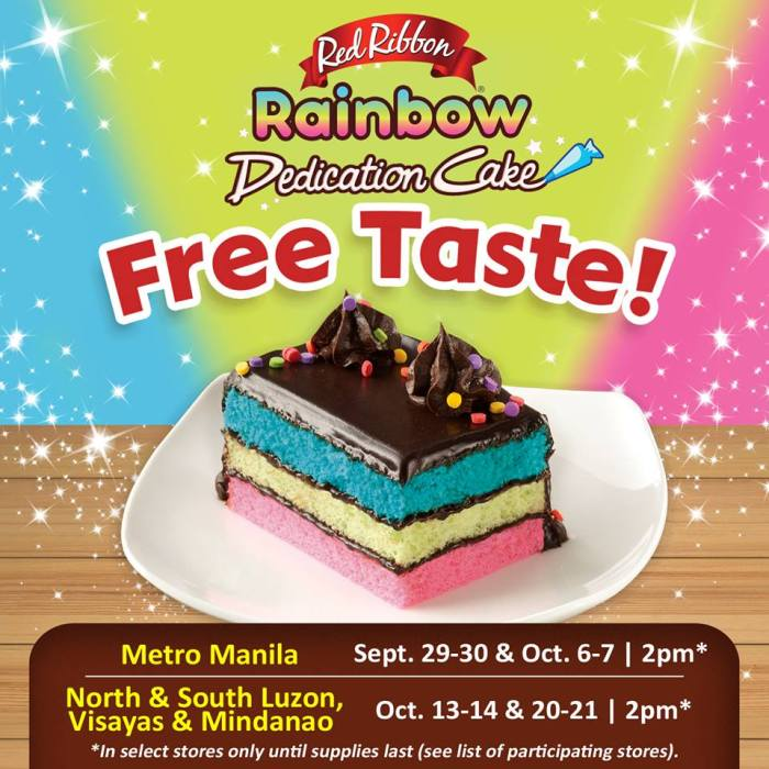 Red Ribbon Rainbow Dedication Cake Free Taste