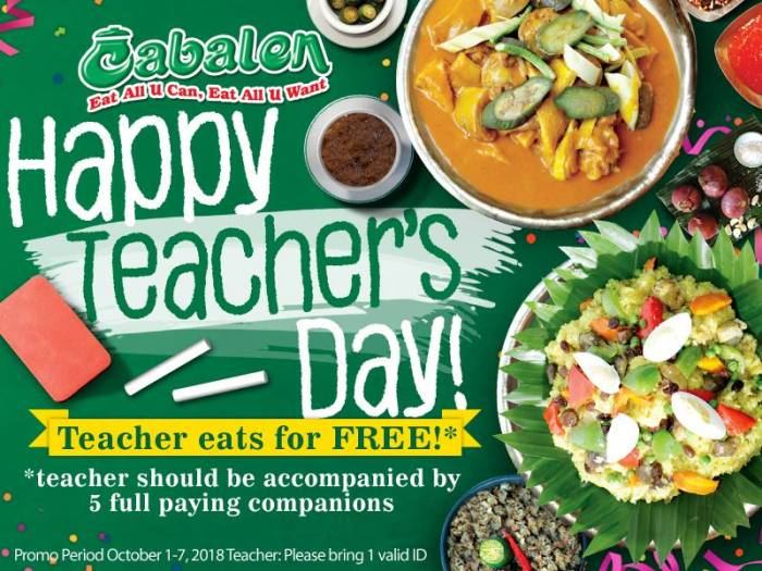 Teachers Eat for FREE at Cabalen Restaurant