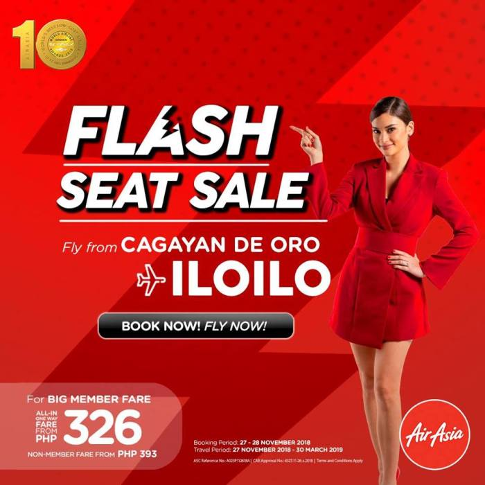 airAsia Flash Seat Sale CDO to Iloilo
