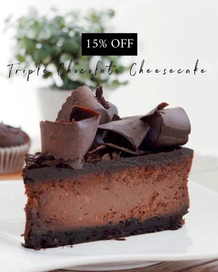Cafe Pilar 15% OFF on Triple Chocolate Cheesecake