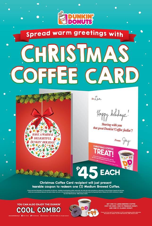Dunkin' Donuts Christmas Coffee Card
