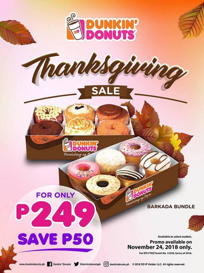 Dunkin' Donuts Thanksgiving Sale Chocolate Festival