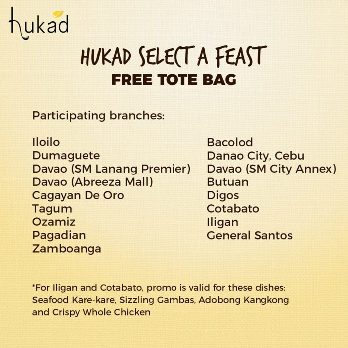 Hukad Select a Feast - FREE Tote Bag branches