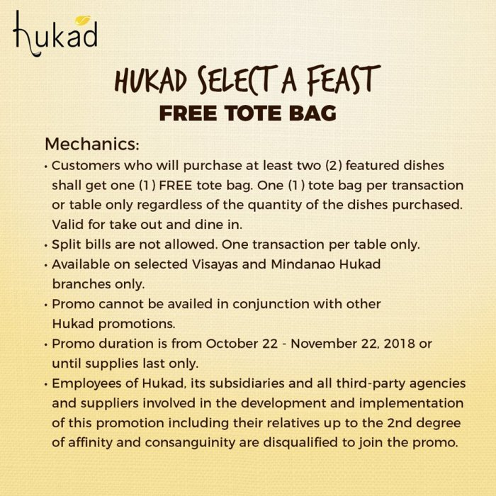 Hukad Select a Feast - FREE Tote Bag mechanics
