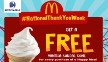 McDonald's NationalThankYouWeek FREE Vanilla Sundae Cone FI