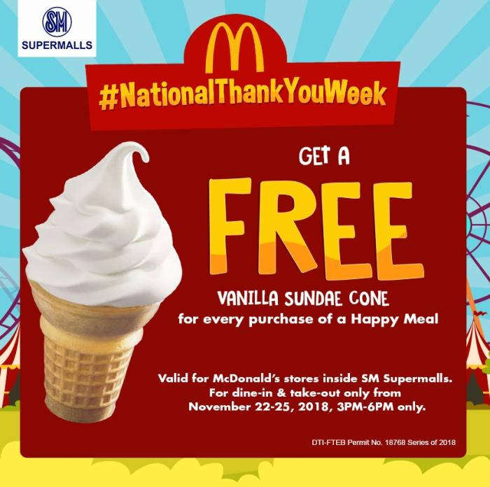 McDonald's #NationalThankYouWeek FREE Vanilla Sundae Cone