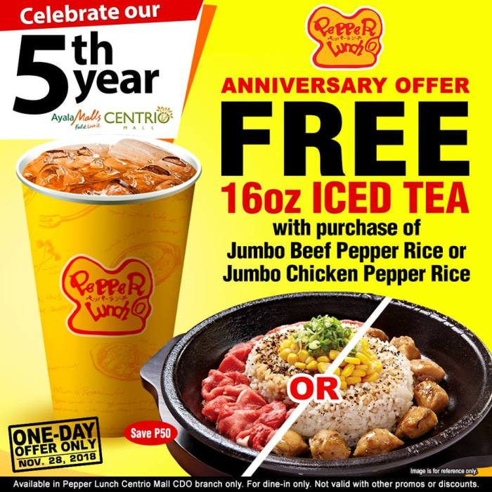 Pepper Lunch CDO 5th Anniversary Offer
