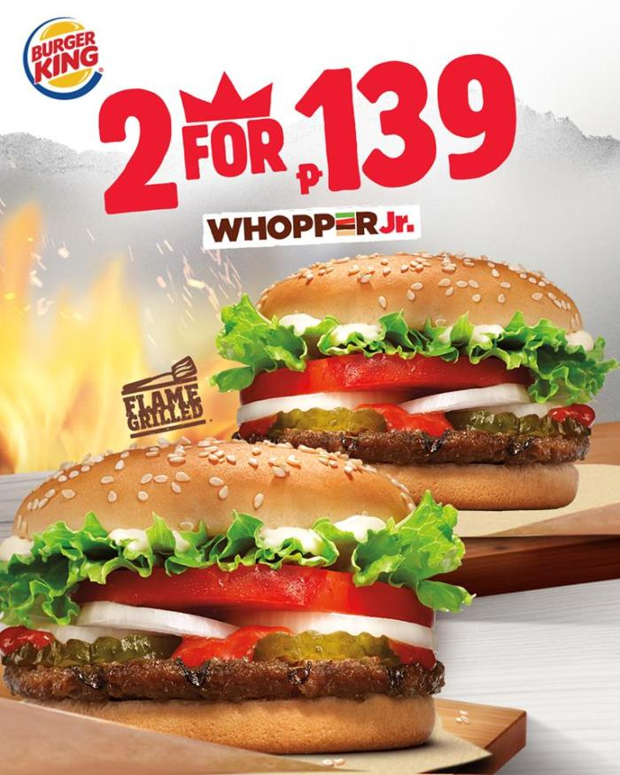 2 For P139 Ala Carte Orders Of Burger King Whopper Jr Cdo Promos