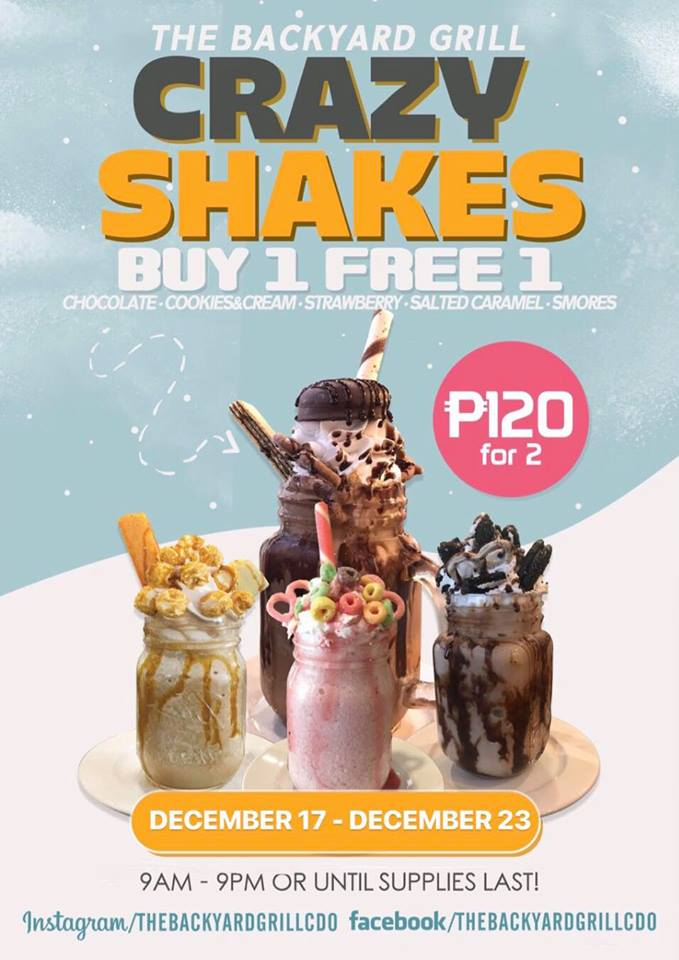 The Backyard Grill Buy 1 Take 1 Crazy Shakes Christmas Blowout